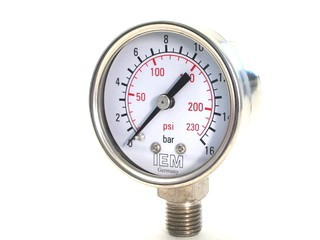 Pressure Gauge -  Stainless Steel Housing, Glycerin Filling-  1/4 inch Bottom Side