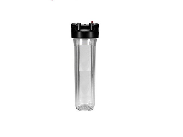 Big Flow Filter Housing - 1/2 inch Connections - black Cap, white Cup - 20 inch x 2,5 inch -